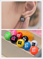 2016 NEW Best Selling 316L Stainless Steel jewelry Fashion Candy Bead Stud Earrings Earing Unisex Summer Fit MoonSo KE2561