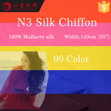 N3 Royal Blue Plain 100% Mulberry Silk Chiffon Fabric