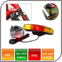 3 in 1 Function CE, RoHS Certification Battery Power Supply Bicycle Rear 7 Led Bike Turn Signal Brake Light