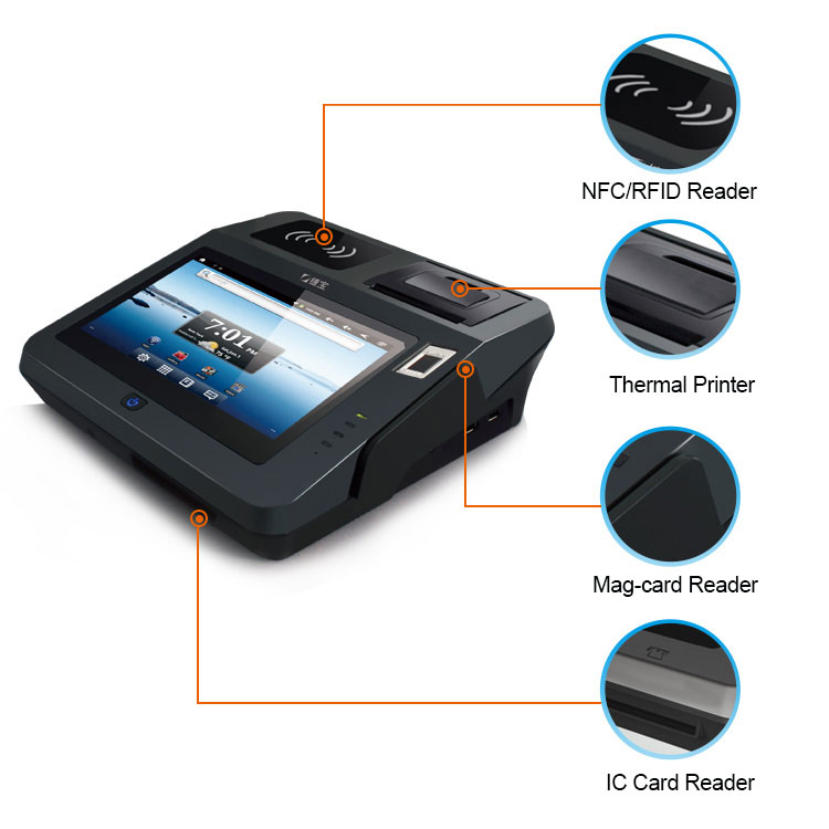 BIS CE Custom All In One Touch Screen Payment Terminal Machine Android Pos System