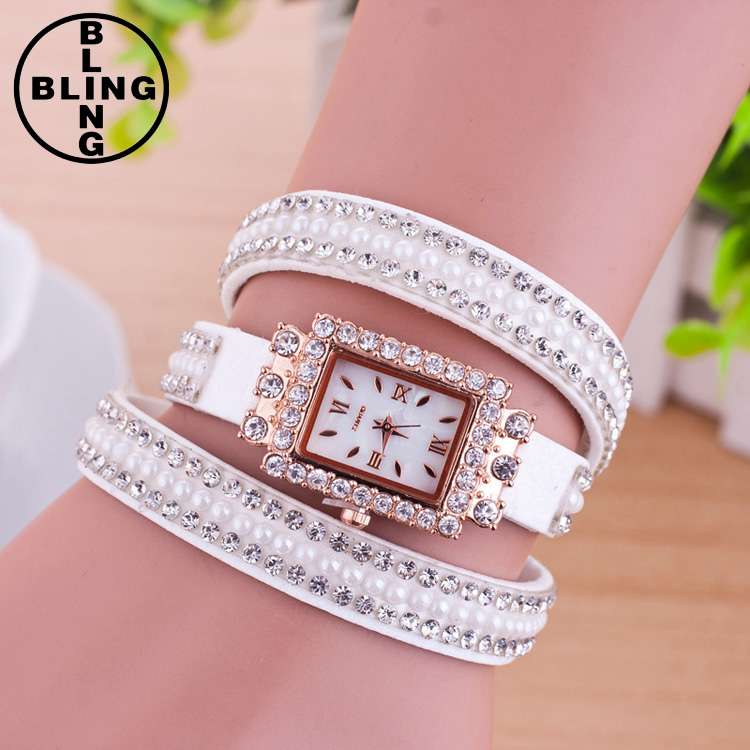 >>>Luxury Women's Watches Casual Leather Crystal Bracelet Watch Girls Ladies Watches