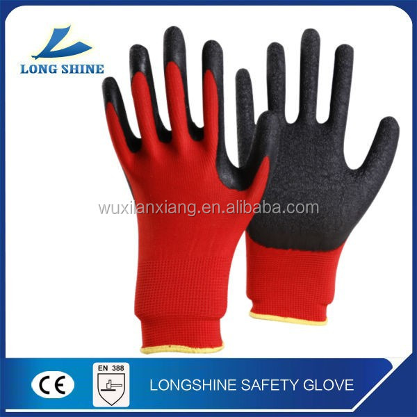 Hot Sale Red Nylon / Polyester Latex Coated on the Palm Industry Working industrial rubber gloves