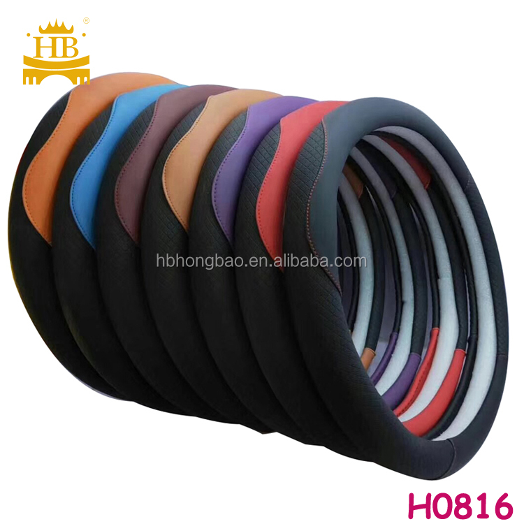 hot selling fiber leather   carbon car steering wheel cover
