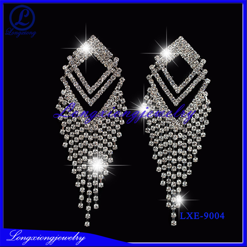 Fashion Jewelry Silver Plating Rhinestone Crystal Earrings Women