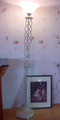 Fancy white floor standing lamp uplight design VOL