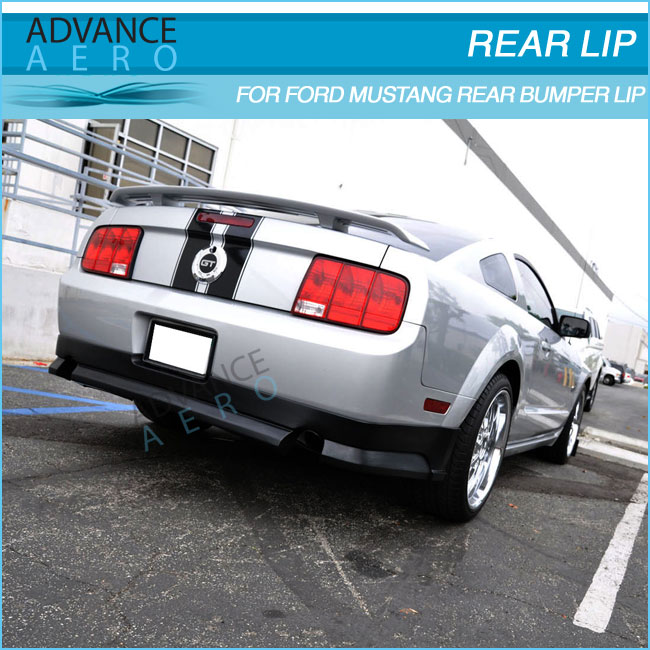 FOR 05-09 FORD MUSTANG V8 MODEL POLY URETHANE BLACK REAR BUMPER LIP SPOILER BODY KITS