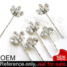 Promotional fancy custom cheap decorative crystal bridal hair pins