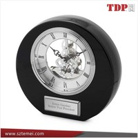 Black Acrylic Round Skeleton Clock