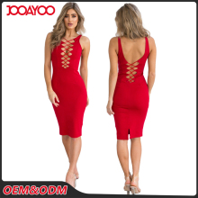 2017 Guangzhou Women Red Lace Up Slit Bodycon Midi Ladies Night Sexy Party Bandage Dress