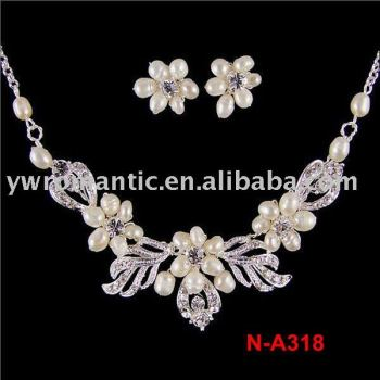 Wholesale freshwater pearl flower bridal wedding jewelry set