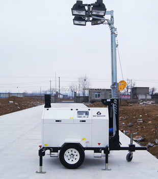 4x1000w metal halide Portable Lifting Lighting Tower Car with Trailer