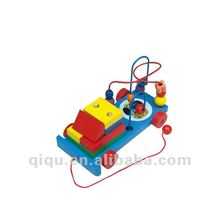 Wooden Building Blocks String Beads Car Toy