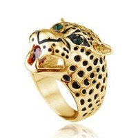 wholesale alibaba fashion woman accessory crystal animal leopard shaped finger rings