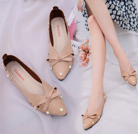 Korean high quality design ladies shoes comfortable bowknot fancy flat sweet women shoes
