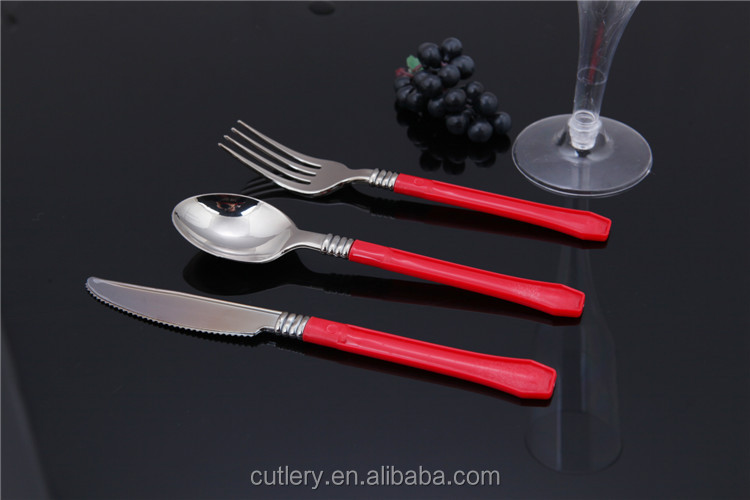 Colored disposable plastic handle cutlery set view plastic handle cutlery set wonderful - Flatware colored handles ...