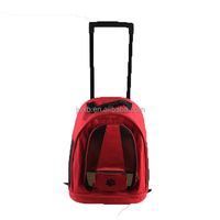 Red cat carrier pet bag collapsable front style