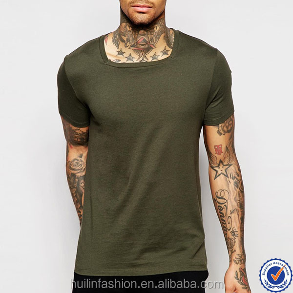 50% cotton and 50% polyester mens short sleeve tshirt wholesale square neck plain green t-shirt