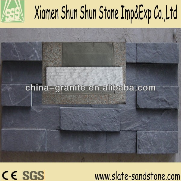 Black High Quality Natural Slate Culture Stone Wall Cladding