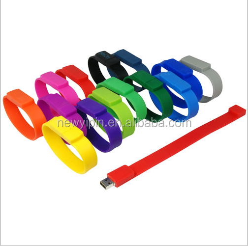 promotional gifts bracelet usb flash drive, OEM logo wristband usb disk 4GB,8GB 16gb, 32gb, 64gb, cheapest silicone usb flash