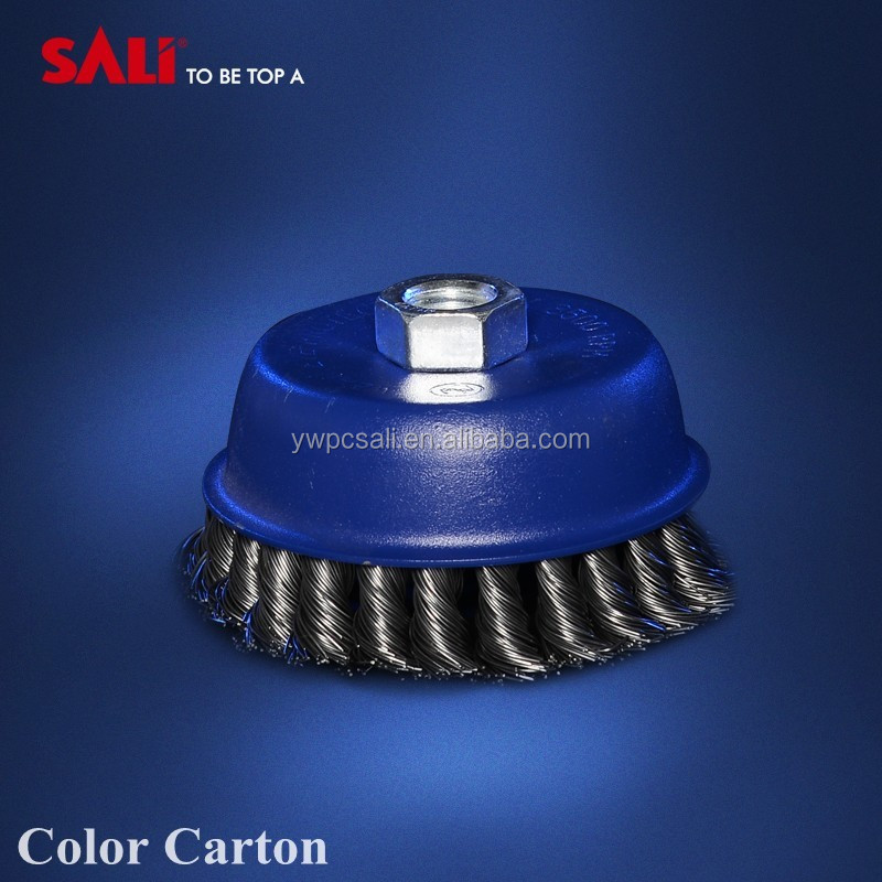 3 inch twist knot steel wire cup brush