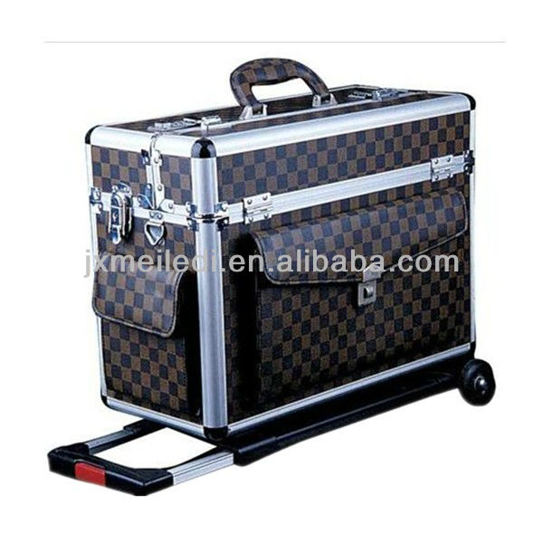 MLD-TC01 High quality aluminium Leather luggage trolley case with wheels