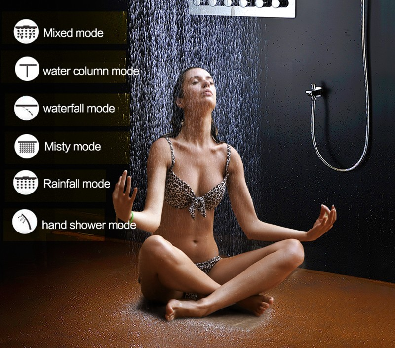 5 Function Waterfall and Spray Large Shower Head LED Lighting 304 SS Material with Chrome Finish Ceiling Mounted Shower Column