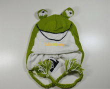 winter animal pattern crocheted frog infant baby knit earflap hat