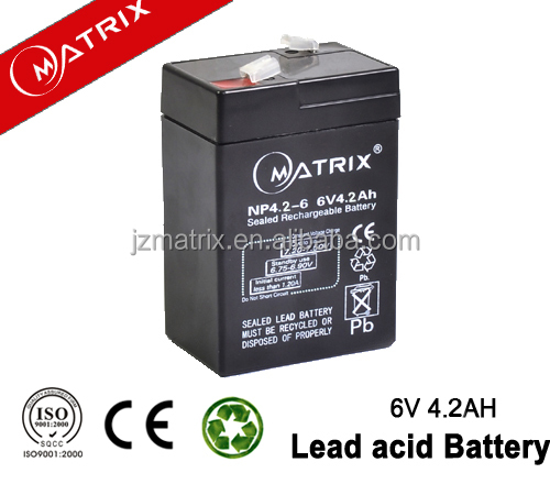 Agm lead acid toys ups battery 6v 4.2ah