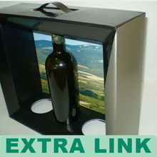 Cheap PVC windows cardboard printing design one bottle wine carrier