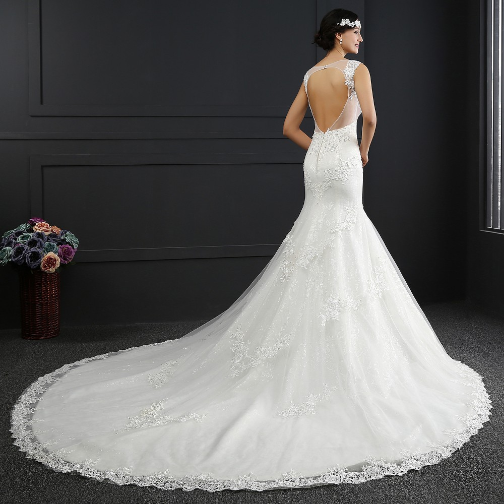 Q004 Real Photo Lace V-Neck Backless Mermaid Wedding Dresses 2016