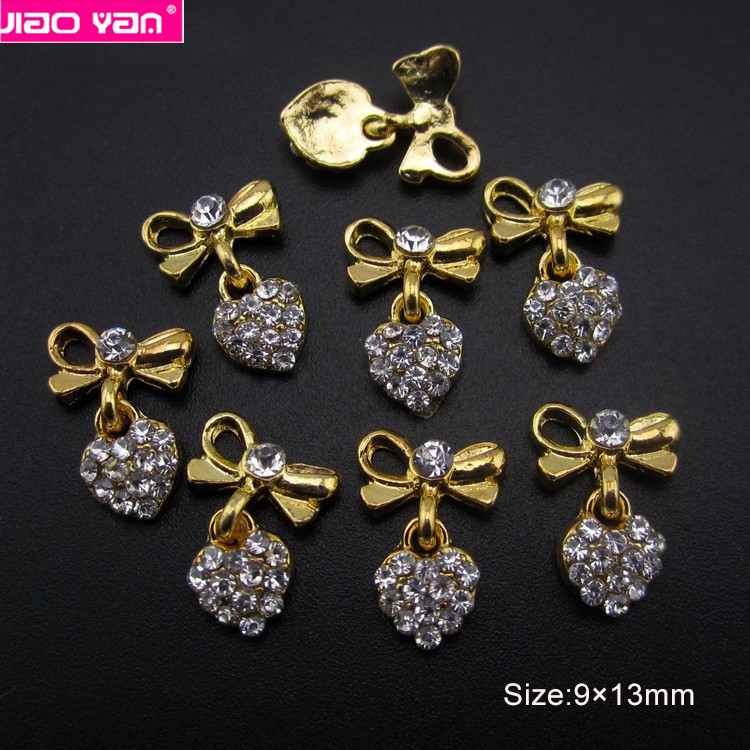 Nail bow heart design alloy rhinestone for nail art #1452