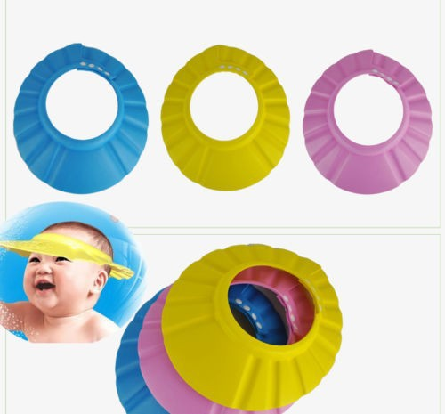 3 Colors New Baby Kids Shampoo Bath Cap With Ear Wash Hair Shield