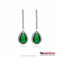 Vintage Classical Women Emerald Teardrop Dangle Earring Wholesale Cheap Bisuteria Pendientes Mujer CER0097-B