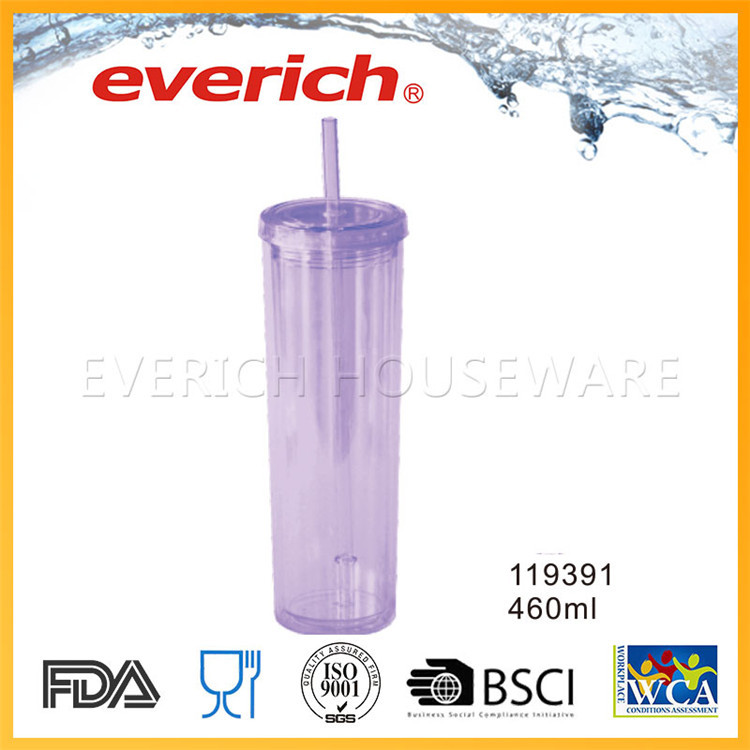 Customized Double Layer Clear Drinking Plastic Cup With Lid