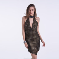 2016 Cocktail dress gold foil printed dress with black lace, asymmetrical hem and cut out back