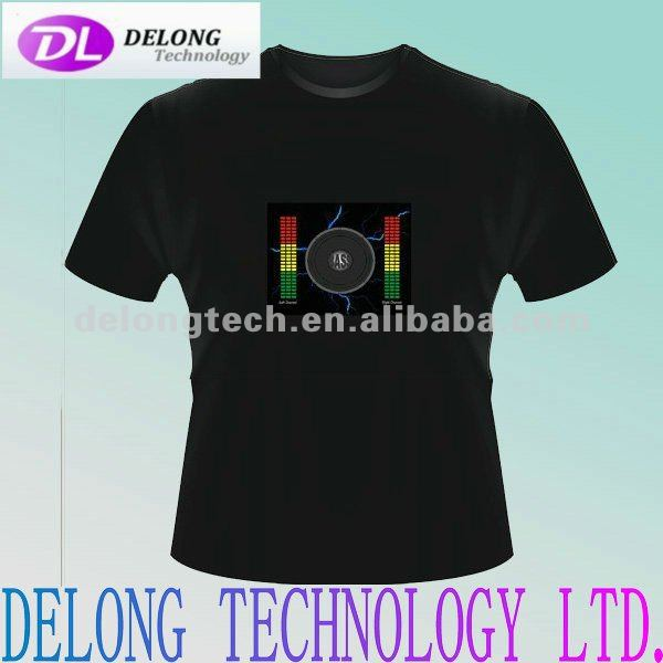 CE fashion sound active flashing el t shirt panel