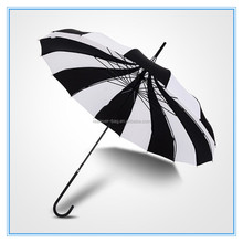 Big large long handle black and white gothic classical windproof pagoda umbrella