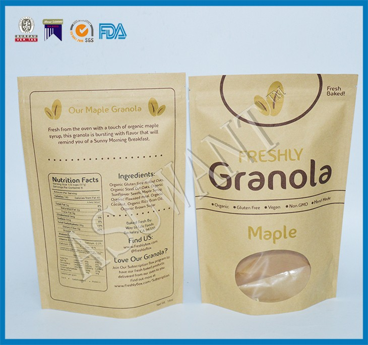 Different types brown kraft paper bags with clear window ziplock hanging hole