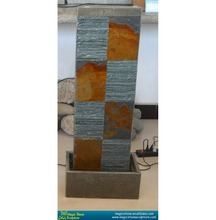 multi color slate stone pillar water fountain with basin