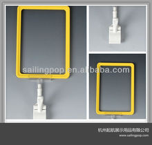 Plastic Display POS Poster Frame With Clips For Shops