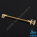 stainless steel andodized gold fashion industrial piercing barbell body jewelry
