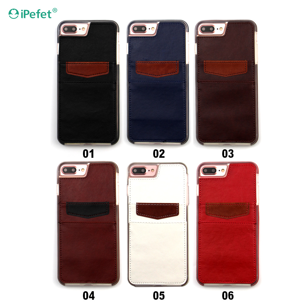 Wholesale new smart case leather full protect phone case for iphone 7 with business card holder