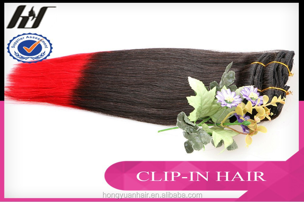 8Pcs Full Head Cheap Colored Clip in Hair Extensions