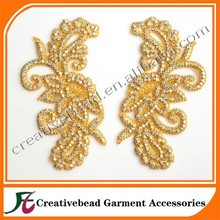 China manufacturer wholesale gold AB color wedding bridal applique