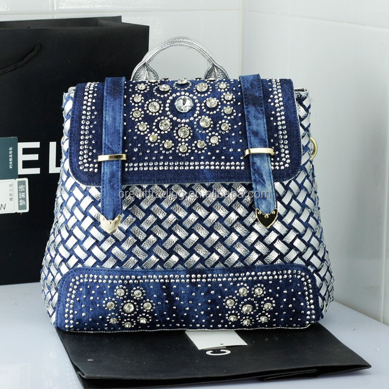 Rhinestone Jean fabric lady backpack