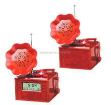 Retro Phonograph radio clock , flower alarm clock, FM radio clock