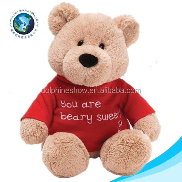 Promotional gift stuffed soft plush toy sublimation teddy bear t shirt with LOGO wholesale cute kids toy plush custom teddy bear