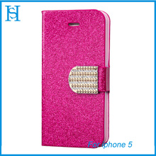 For iPhone 5 Wholesale Diamond Magnetic Snap Fashion Cover Leather Mobile Phone Flip