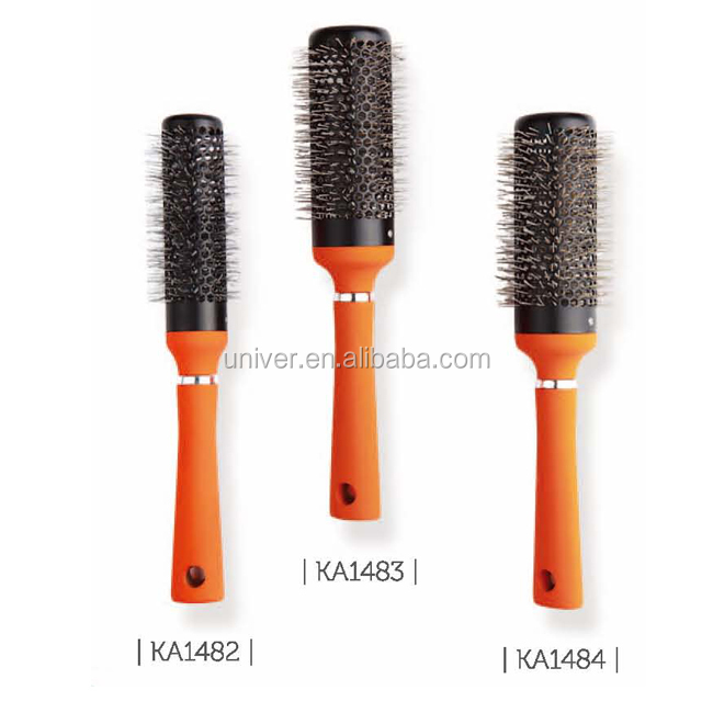 Hot Sell Plastic Handle Hair Brush with Rubber Paint KA1482-KA1484