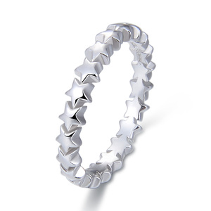 POLIVA Amazon Hot Selling Branded Women Jewelry White Gold Plated Fashion Couple Eternity Band 925 Sterling Silver Ring